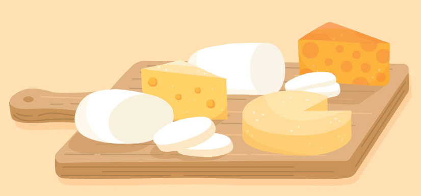 free cheese illustratioin: Wooden Board with Cheese