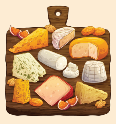 free cheese illustration: Hand-Drawn Cheese Board