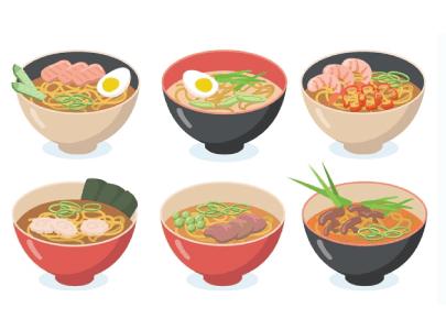free ramen illustration: Noodle Soups