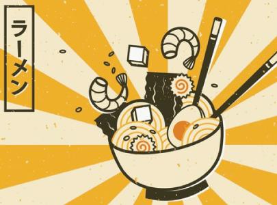 free ramen illustration: Delicious Ramen Soup
