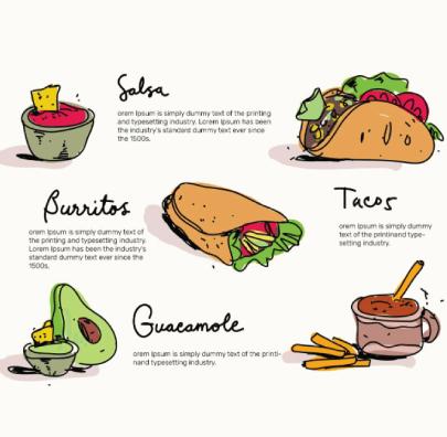 free taco illustration: Mexican Food Menu