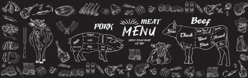 free meat illustration: Butcher Shop Menu