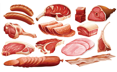 free meat illustration: Different Types of Meat