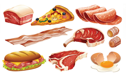 free meat illustration: Meat Products Set