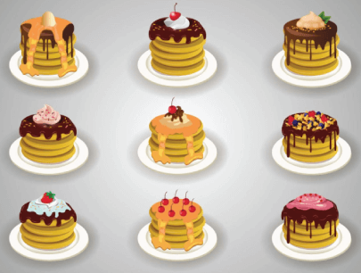 free pancakes illustration: Sweet Pancakes with Toppings