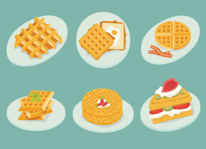 free waffles illustration: Plates with Waffles