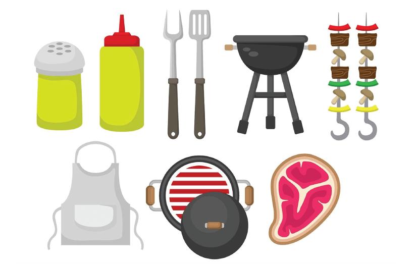 Free BBQ Illustration: Brochette BBQ Set
