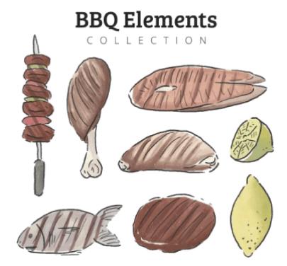 Free BBQ Illustration: Watercolor BBQ Illustrations 01