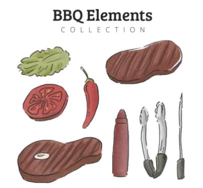Free BBQ Illustration: Watercolor BBQ Illustrations 02