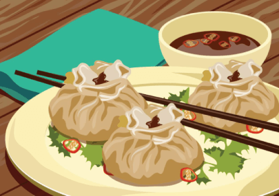 Free Dumpling Illustration: Steamed Beef Dumplings