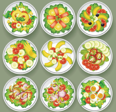 Free Healthy Food Illustration: Set of Healthy Salads