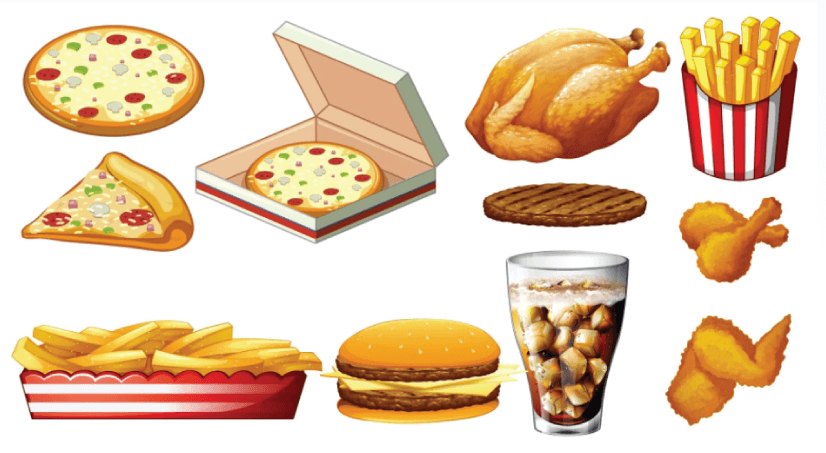 Free Fast Food Illustration: Different Types of Fast Food and Drink