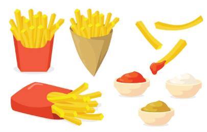 Free Fast Food Illustration: French Fries Set