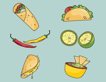 Free Mexican Food Illustration: Free Burrito Illustration 01