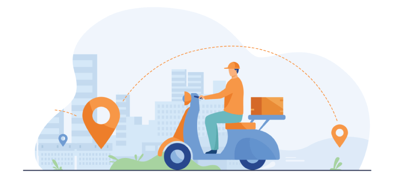 Free Food Delivery Illustration: Courier