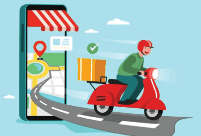 Free Food Delivery Illustration: Motorcycle Delivery