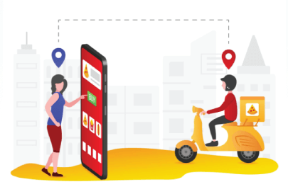 Free food delivery illustration: Woman Using Food Delivery Services
