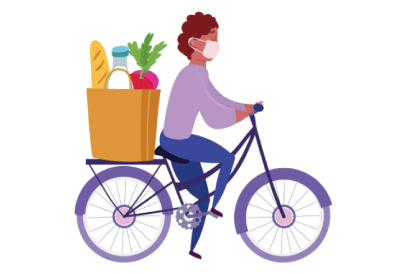 Free food delivery: Food Courier Driving a Bicycle
