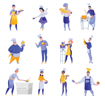 free chef character illustration: Professional Chef Characters