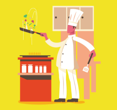 free chef character illustration: Professional Chef Cooks