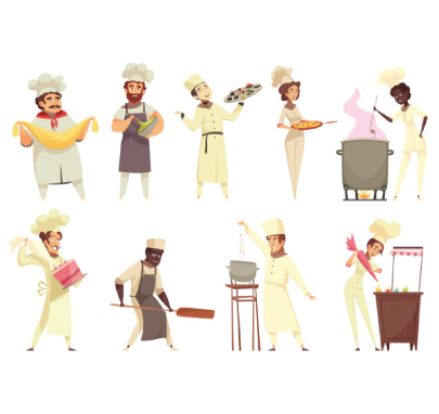 Free chef character illustration: The Chef Team