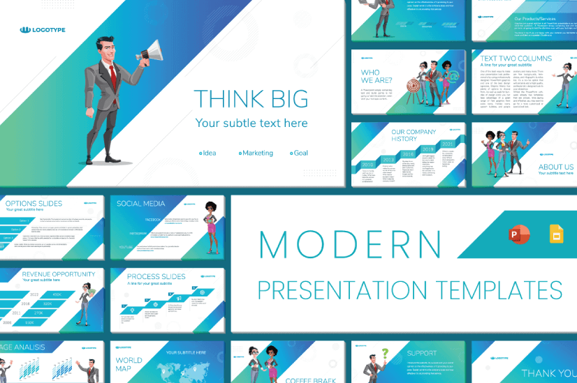 Modern PowerPoint PresentationTemplates by Graphic Mama: Think Big