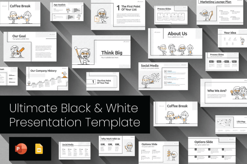 Modern PowerPoint PresentationTemplates by Graphic Mama: Black and White