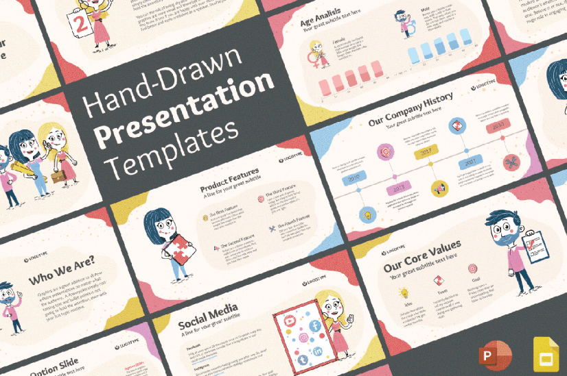 Modern PowerPoint PresentationTemplates by Graphic Mama: Hand-Drawn