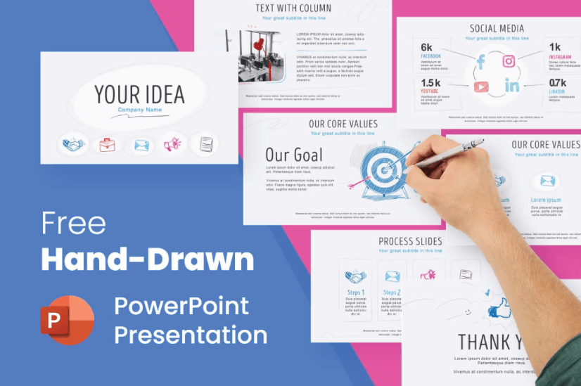 Modern PowerPoint PresentationTemplates by Graphic Mama: Free Hand-Drawn Presentation Template