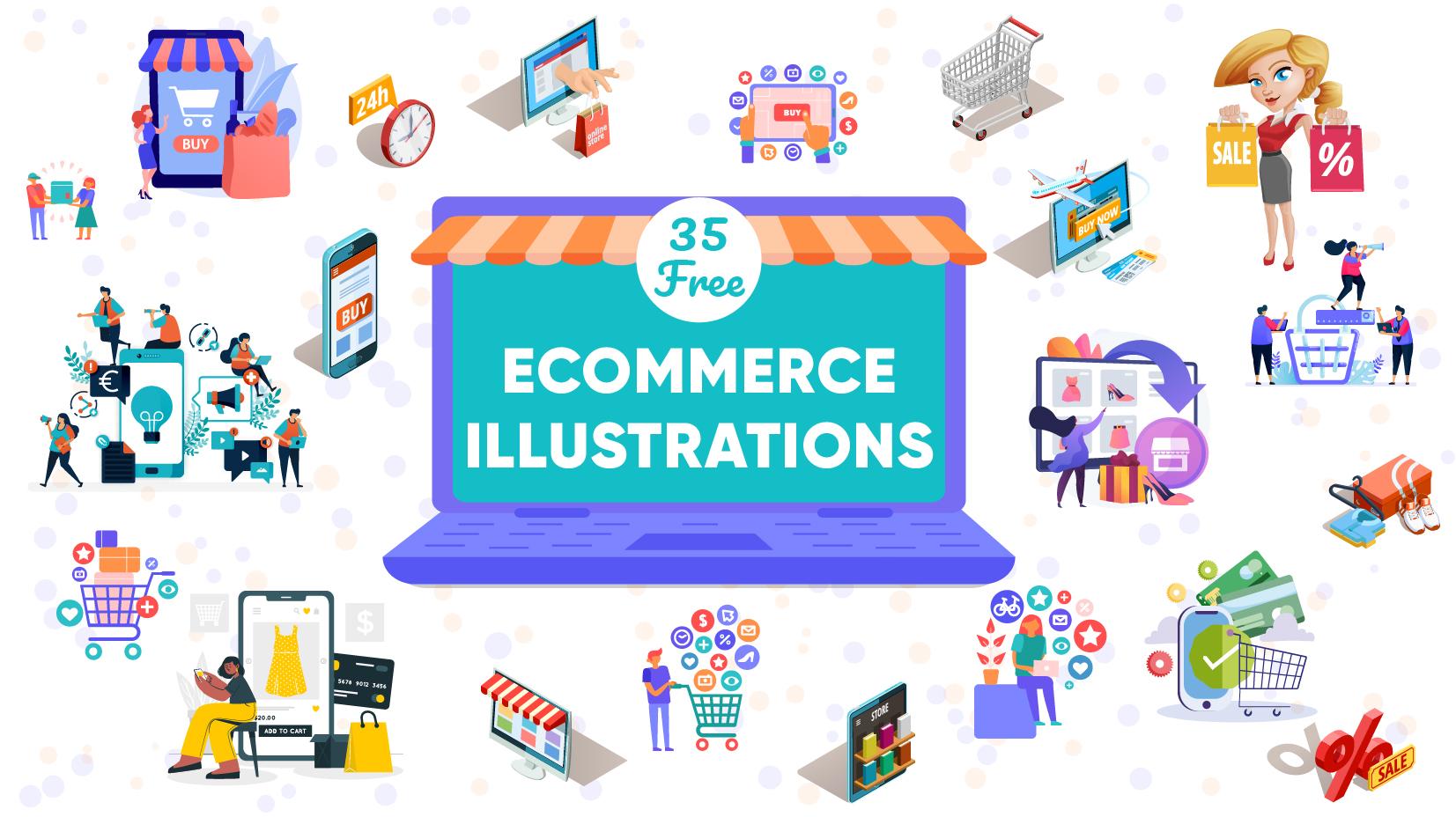 35 Free Ecommerce Illustrations