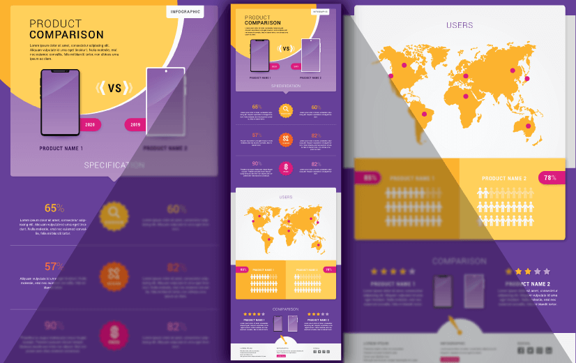 Free Vector Infographic Design Template: Free Product Comparison Editable Vector Infographic Design Template