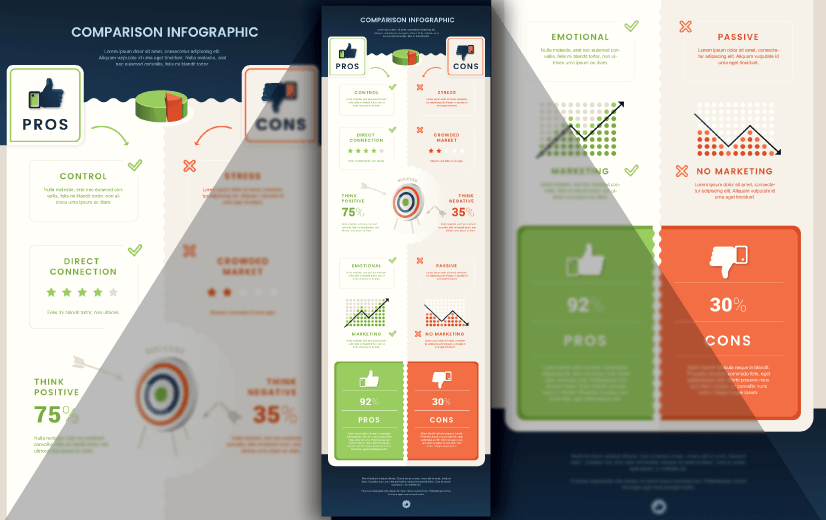 Free Vector Infographic Design Template: Free Pros and Cons Comparison Editable Vector Infographic Design Template