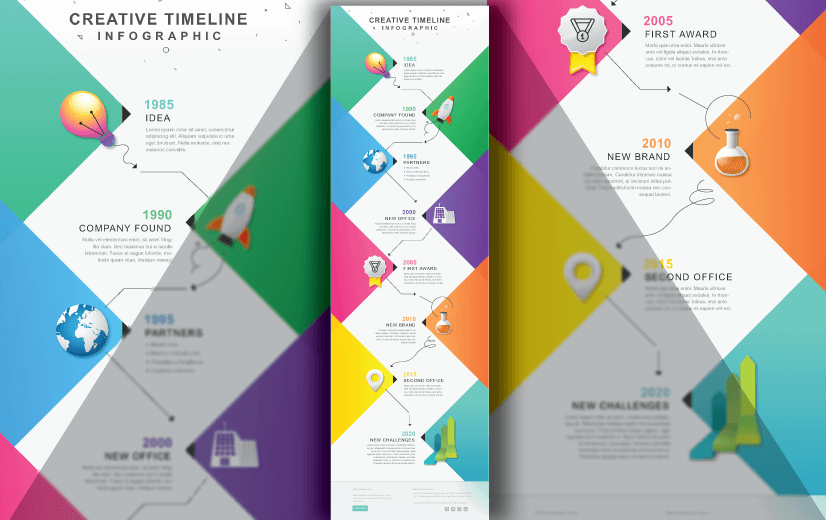 Free Vector Infographic Design Template: Free Creative Timeline Infographic Editable Vector Design Template