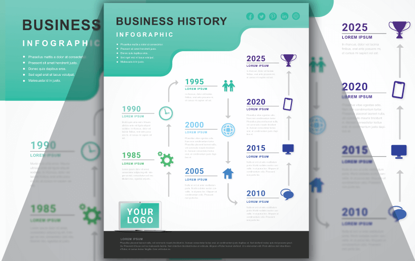 Free Vector Infographic Design Template: Free Business History Infographic Editable Vector Design Template
