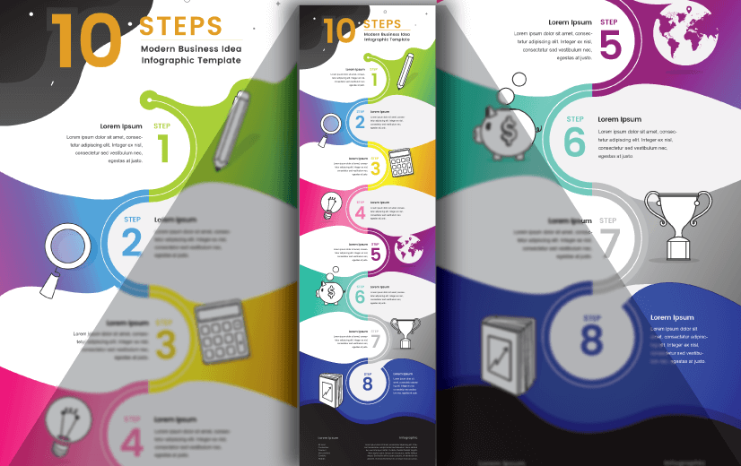 Free Vector Infographic Design Template: Free Steps Editable Vector Infographic Design Template