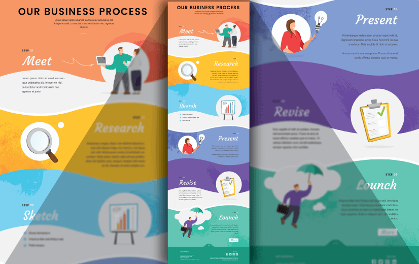 Free Vector Infographic Design Template: Free Modern Editable Vector Process Infographic Design Template
