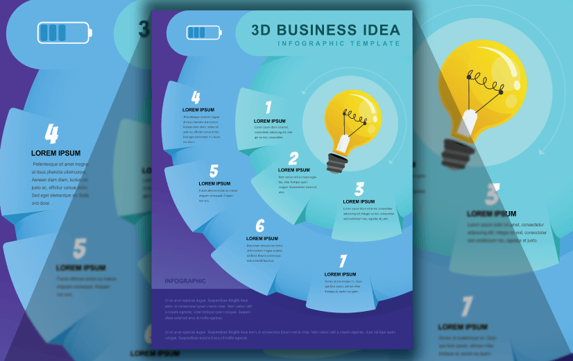 Free Vector Infographic Design Template: Free 3D Business Idea Editable Vector Infographic Design Template