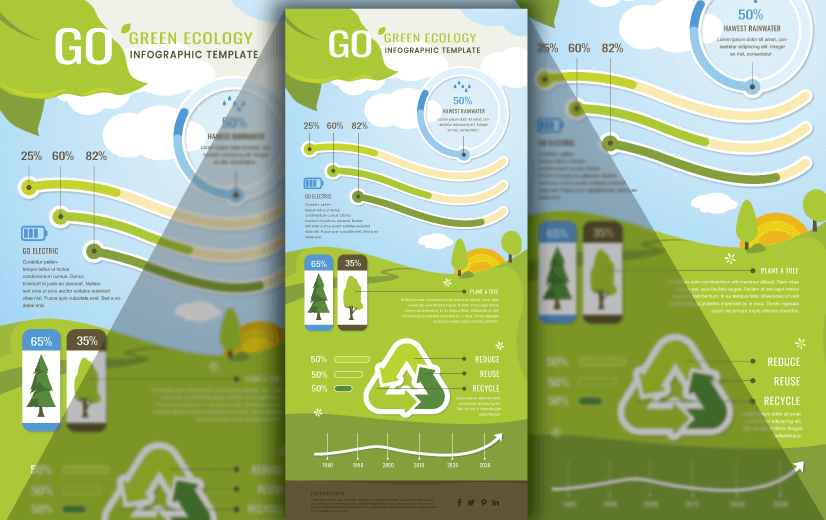 Free Vector Infographic Design Template: Free Go Green Ecology Editable Vector Infographic Design