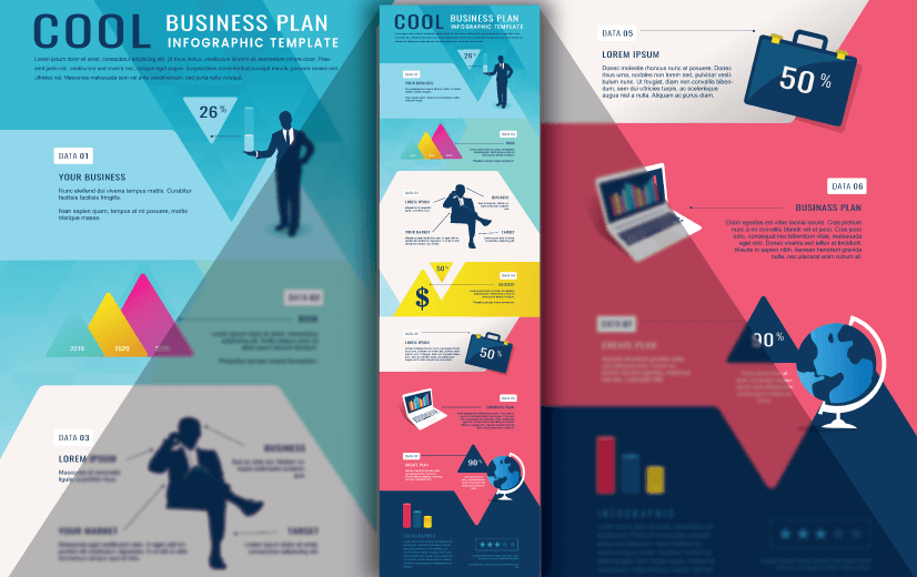 Free Vector Infographic Design Template: Free Cool Business Plan Editable Vector Infographic Design