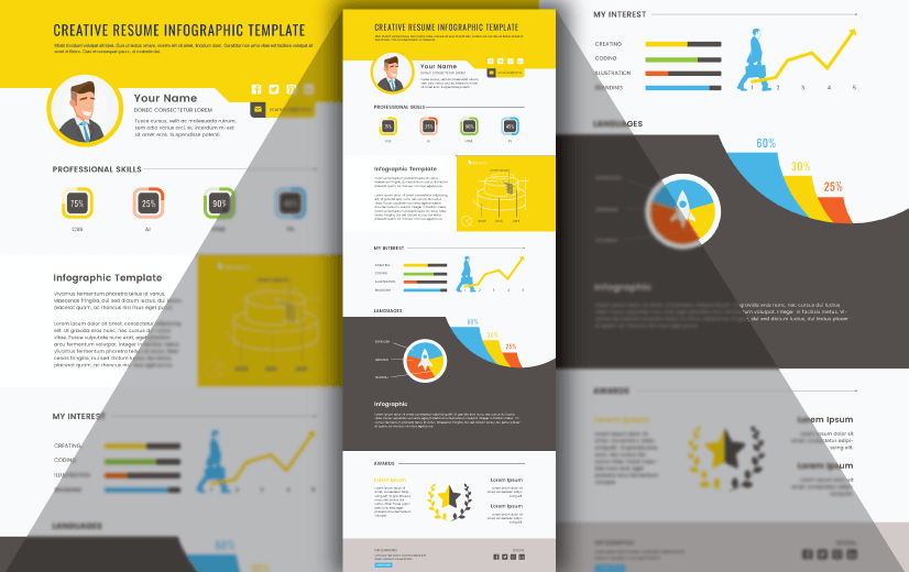 Free Vector Infographic Design Template: Free Creative Resume Infographic Design Editable Vector