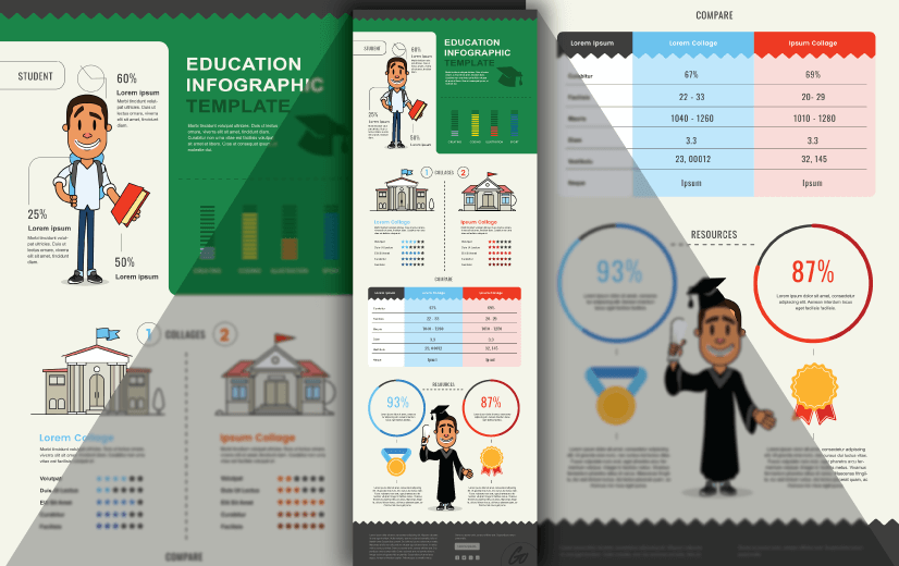 Free Vector Infographic Design Template: Free Education Infographic Template Editable Vector