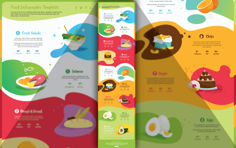 Free Vector Infographic Design Template: Free Food Infographic Template Editable Vector