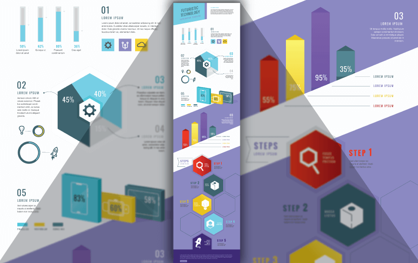 Free Vector Infographic Design Template:Free Futuristic Technology Infographic Template Editable Vector