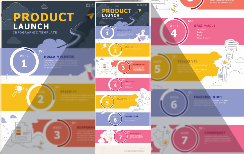 Free Vector Infographic Design Template: Product Launch Infographic Template Editable Vector