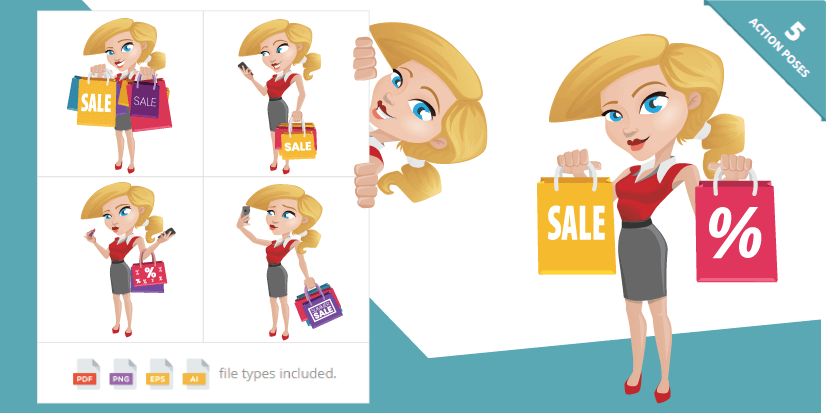 Free Ecommerce Illustrations Shopping Girl Cartoon VectorCharacter by Graphic Mama