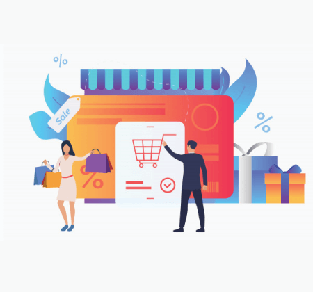 Free Ecommerce Illustrations: Store with Credit Card and Byers Vector