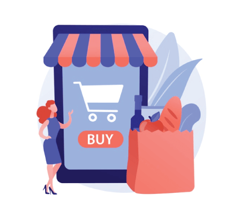 Free Ecommerce Illustrations: Digital supermarket abstract concept Free Vector