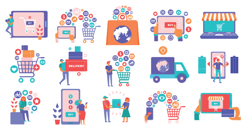 Free Ecommerce Illustrations: Online shopping e-commerce flat icons set with smartphone tablet laptop basket credit card payment Free Vector