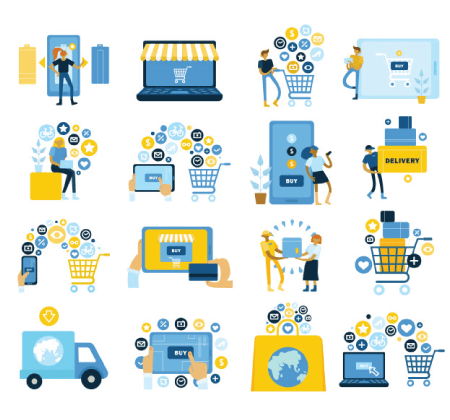 Free Ecommerce Illustrations: Worldwide buying online symbols flat icons collection with e-shop basket filling paying home delivery Free Vector