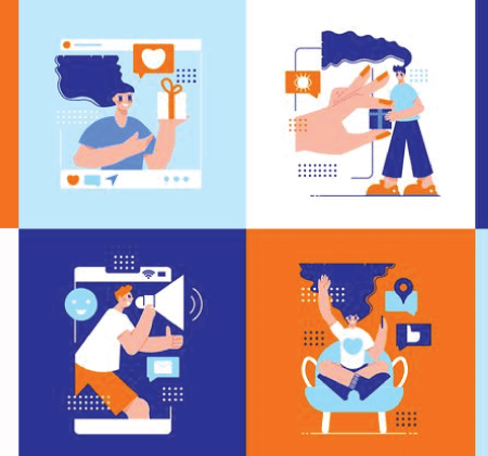 Free Ecommerce Illustrations: Influencer marketing compositions set Free Vector